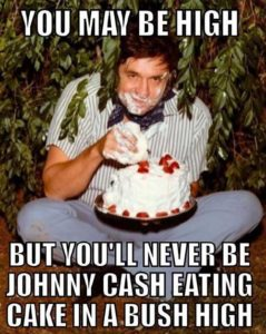 Johnny Cash high eating cake in a bush